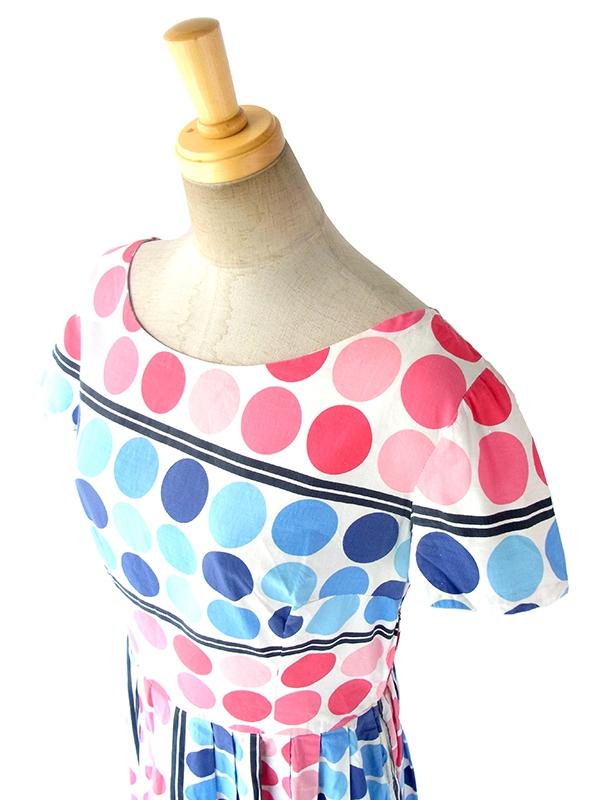 ヨーロッパ古着 ロンドン買い付け 60年代製 ホワイト X ピンク・水色 水玉 プリーツ ワンピース 17OM321