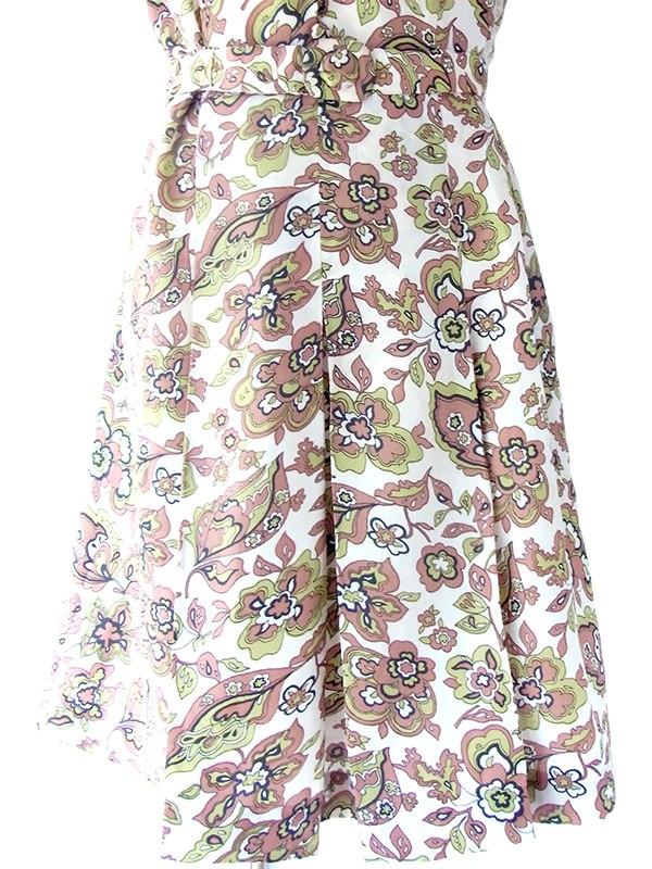 ヨーロッパ古着 ロンドン買い付け 70年代製 ホワイト X グリーン・ブラウン レトロ柄 丸襟 共布ベルト付き ワンピース 17OM328