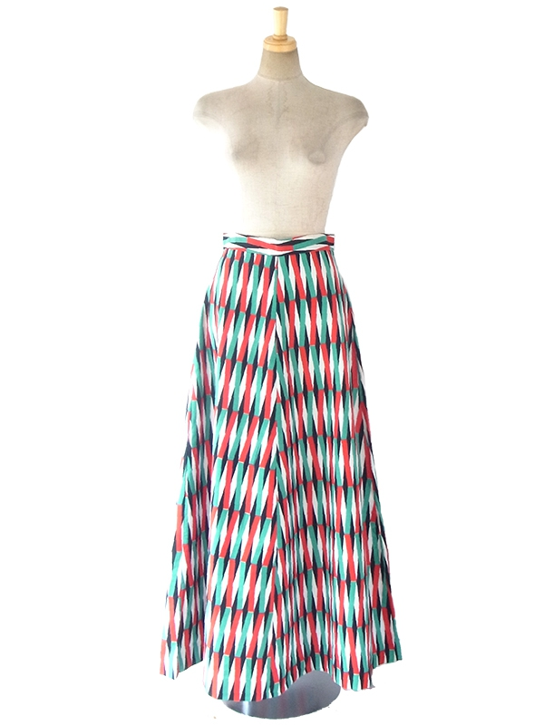 ヨーロッパ古着 ロンドン買い付け 60年代製 カラフル 幾何学模様 ヴィンテージ ロング スカート 17OM436