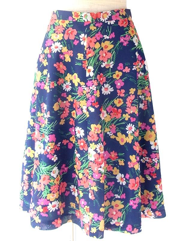 ロンドン買い付け 70年代製 ブルー X カラフル花柄 レトロ スカート 17OM438