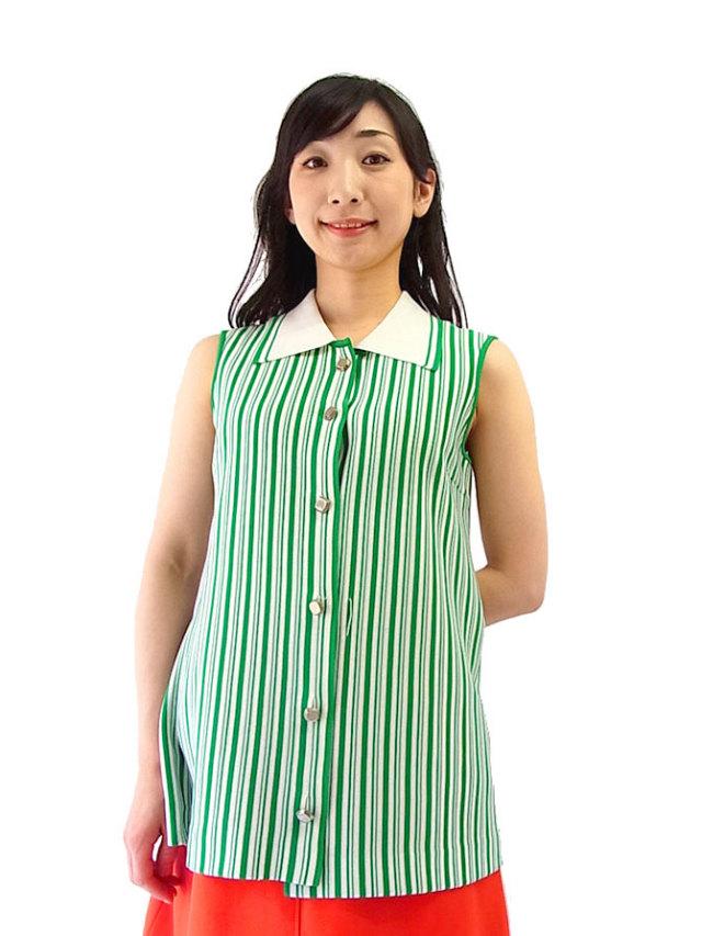 ポップな配色のストライプがキュート♪71年代ヴィンテージのかわいい日本製トップス