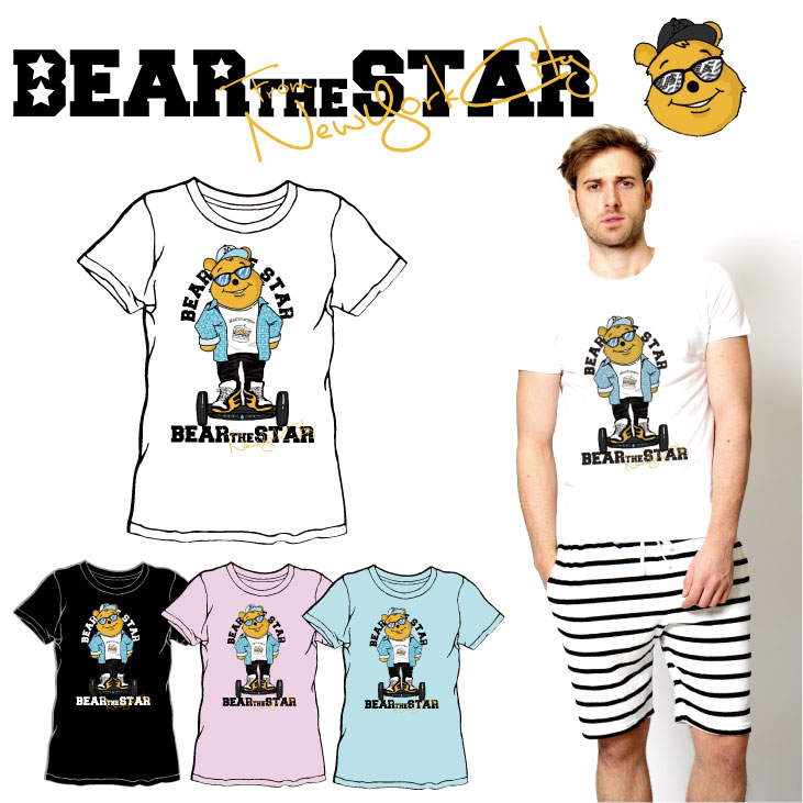 BEAR THE STAR type:セグウェイ半袖Tシャツ◆ メンズ メンズファッション レディースファッション ユニセックス 男女兼用 BEAR THE STAR ベア― 熊 クマ 半袖Tシャツ 半袖 Tシャツ キャラクター キャラクターTシャツ