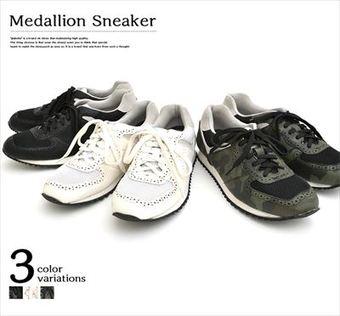 メダリオンスニーカー◆メンズ シューズ 靴 スニーカー ストリート カジュアル オールシーズン ブラック ホワイト カモ