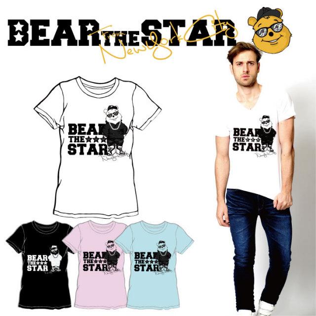 BEAR THE STAR type:モノクローム半袖Tシャツ◆ メンズ メンズファッション レディースファッション ユニセックス 男女兼用 BEAR THE STAR ベア― 熊 クマ 半袖Tシャツ 半袖 Tシャツ キャラクター キャラクターTシャツ