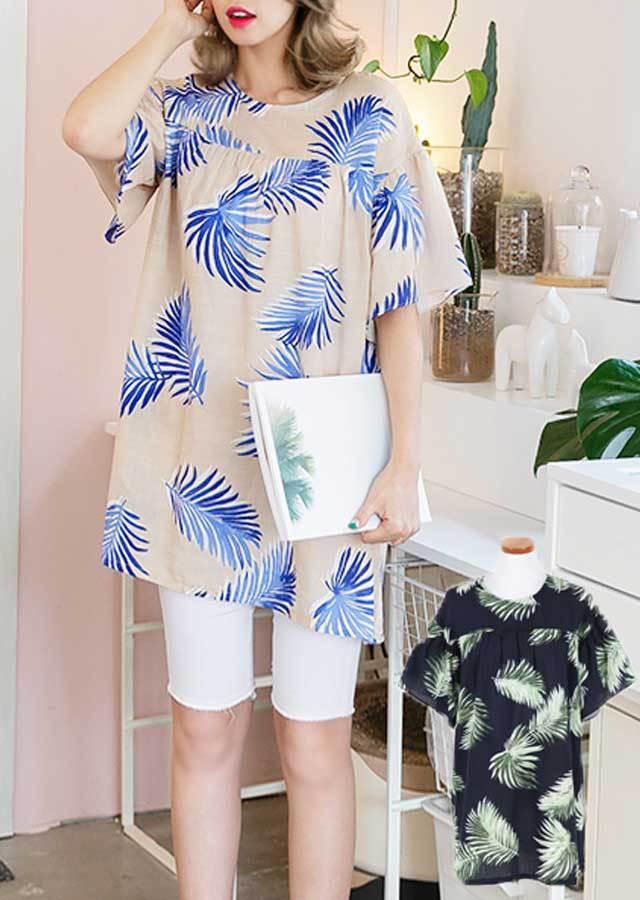 OP32538/トロピカルプリントポイントロング丈Tシャツ(ベージュ/ネイビー)【Lサイズ LLサイズ 3Lサイズ 4Lサイズ 5Lサイズ 6Lサイズ】