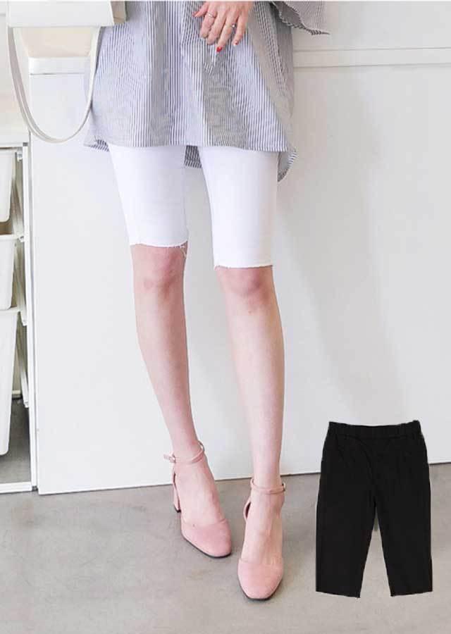 SL315203/合わせやすい★5分ゴムウエストパンツ(ホワイト/ブラック)【Lサイズ LLサイズ 3Lサイズ 4Lサイズ 5Lサイズ】