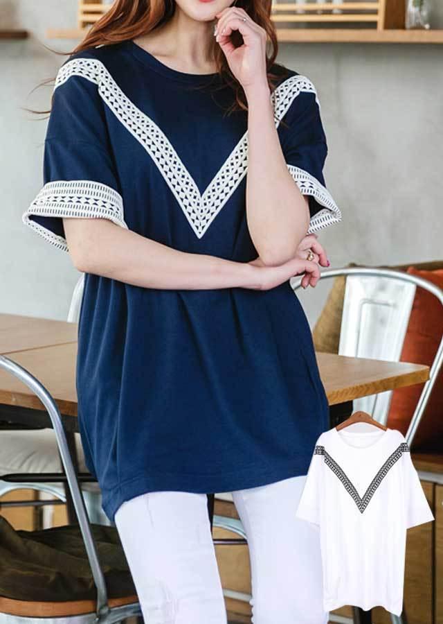 TP24928/レースポイントが可愛いロングTシャツ(ホワイト/ネイビー)【Lサイズ LLサイズ 3Lサイズ 4Lサイズ 5Lサイズ 6Lサイズ 7Lサイズ】