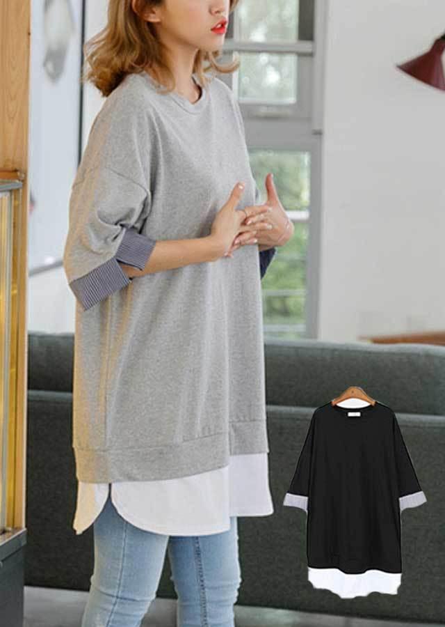 TP25558/一枚でOK♪プルオーバーにシャツ重ね着風Tシャツ(グレー/ブラック)【LLサイズ 3Lサイズ 4Lサイズ 5Lサイズ 6Lサイズ 7Lサイズ】