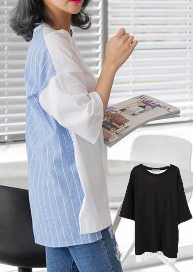 TP28501/後ろストライプ配色ポイントのロングTシャツ(ブラック/ソラ)【Lサイズ LLサイズ 3Lサイズ 4Lサイズ 5Lサイズ】