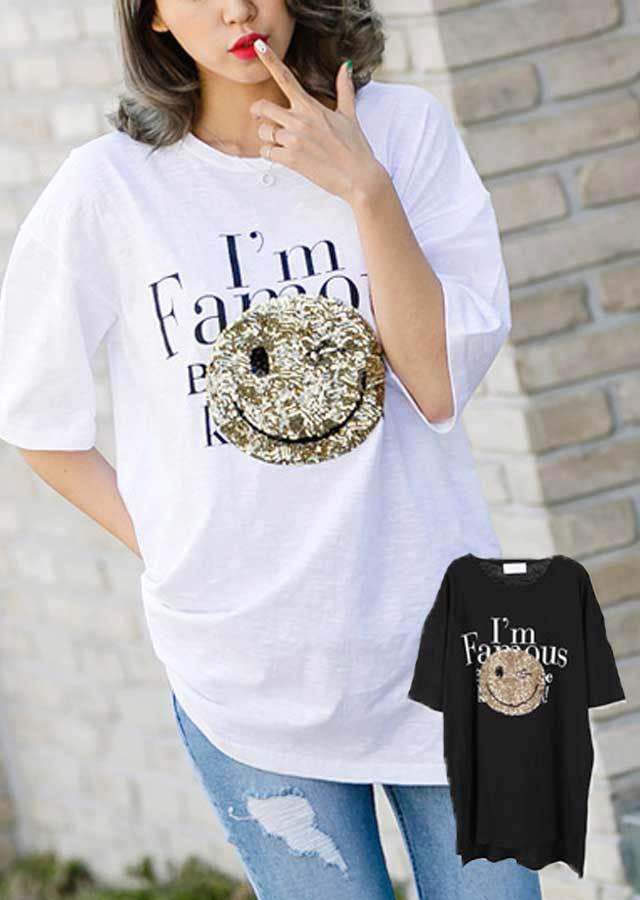 TP30679/爽やかなスパンコールスマイルマークポイントTシャツ(ブラック/ホワイト)【Lサイズ LLサイズ 3Lサイズ 4Lサイズ 5Lサイズ 6Lサイズ】