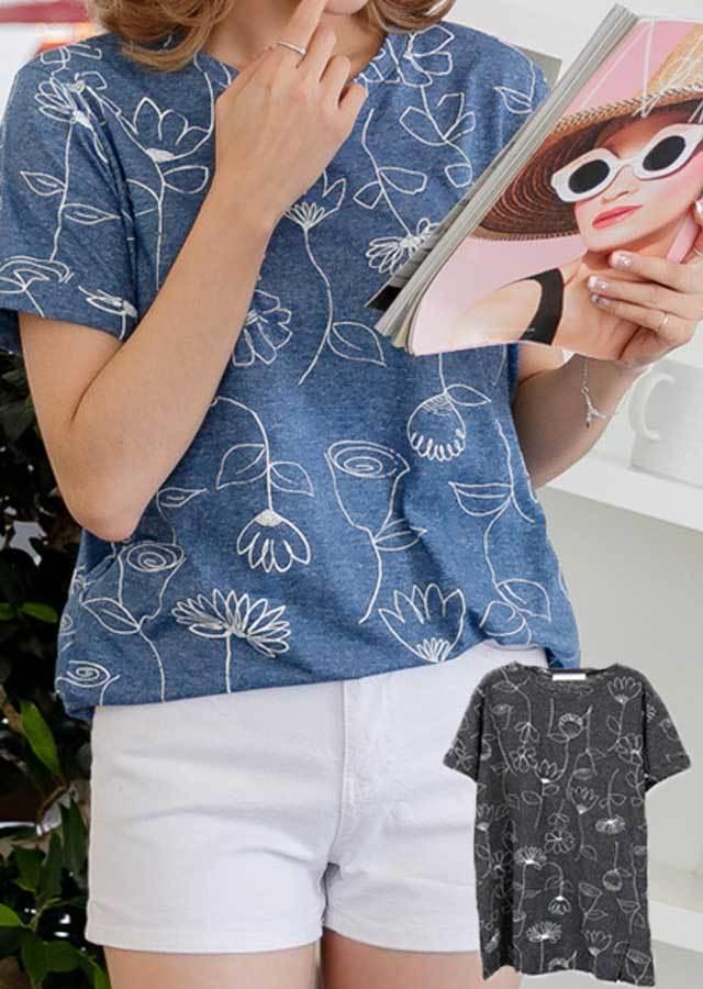 TP25519/キュートなお花プリント!フラワープリントTシャツ(ブルー/チャコール)【Lサイズ LLサイズ 3Lサイズ 4Lサイズ 5Lサイズ 6Lサイズ】