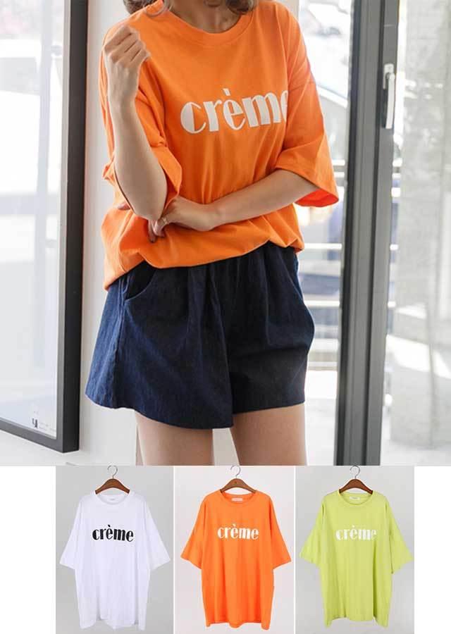 TP30053/シンプルcream英文字ロングTシャツ(ホワイト/ライム/オレンジ)【Lサイズ LLサイズ 3Lサイズ 4Lサイズ 5Lサイズ 6Lサイズ】