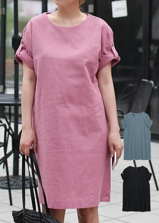 0417J41/女性らしく着こなせるリネン混ワンピース(ピンク/ブルー/ネイビー)【Lサイズ LLサイズ 3Lサイズ 4Lサイズ 5Lサイズ】