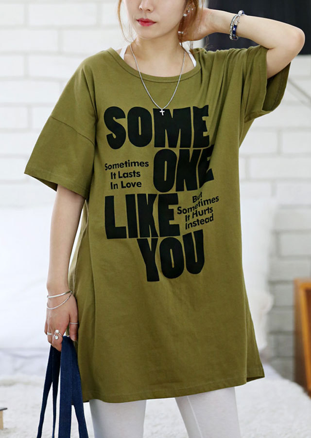 【SALE】0415T12/SOMEONEプリントTシャツチュニック(アイボリー/カーキ/チャコール)【Lサイズ LLサイズ 3Lサイズ 4Lサイズ 5Lサイズ】