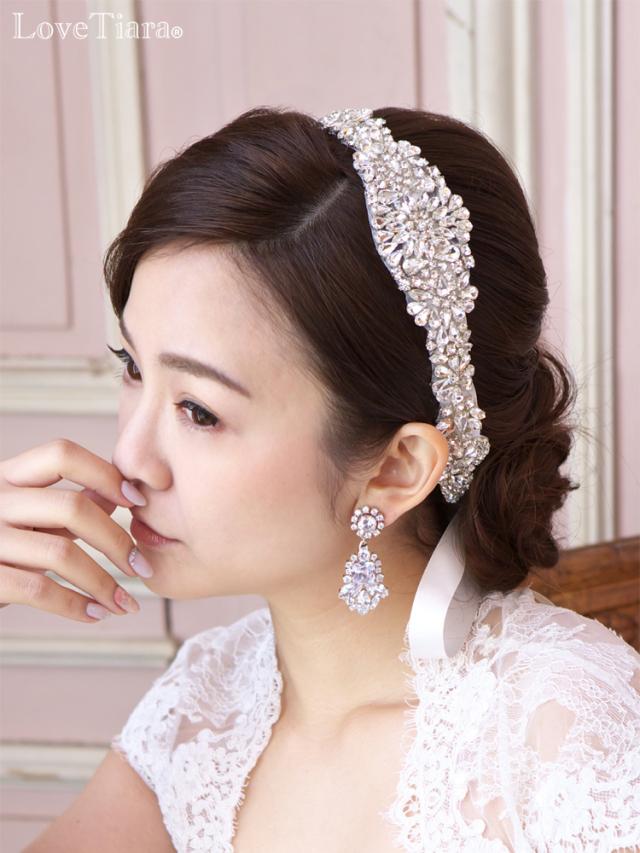 ビジュー カチューム リボンカチューシャ ウェディング 結婚式