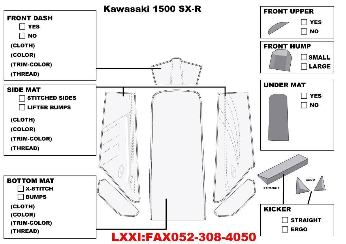 【JT-K15SXR112】JETTRIM KAW 1500SX-R 6PC マットキット
