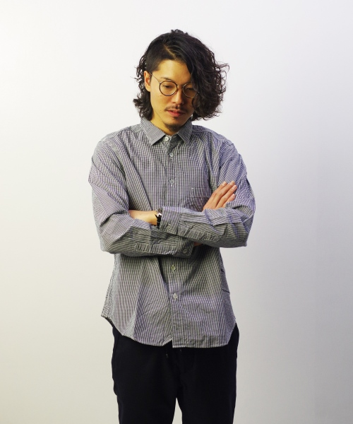 RINEN/リネン 80/2 ダウンプルーフ レギュラーカラーシャツ - ギンガムチェック