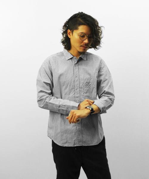 RINEN/リネン 80/2 ダウンプルーフ レギュラーカラーシャツ - ストライプ