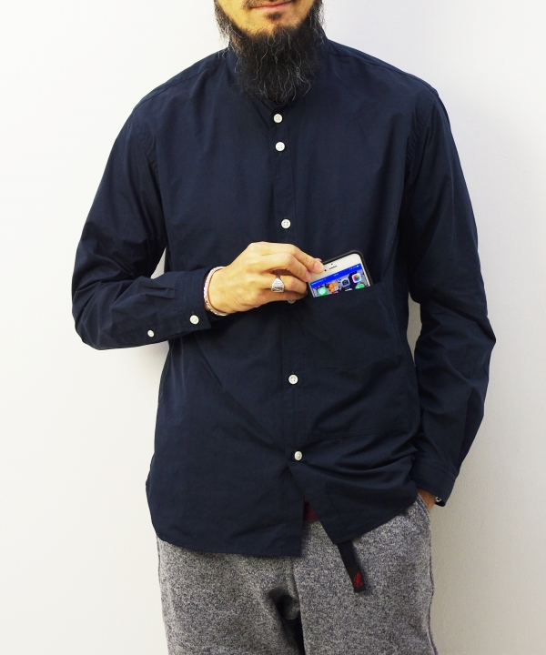 nisica/ニシカ スタンドカラーシャツ - ポリエステルナイロン