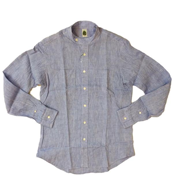 アルブル 【arbre】 フレンチリネン スタンドカラーシャツ French Linen Stand Coller Shirt BLUE