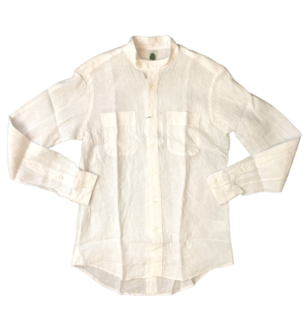 アルブル 【arbre】 フレンチリネン スタンドカラーシャツ French Linen Stand Coller Shirt WHITE
