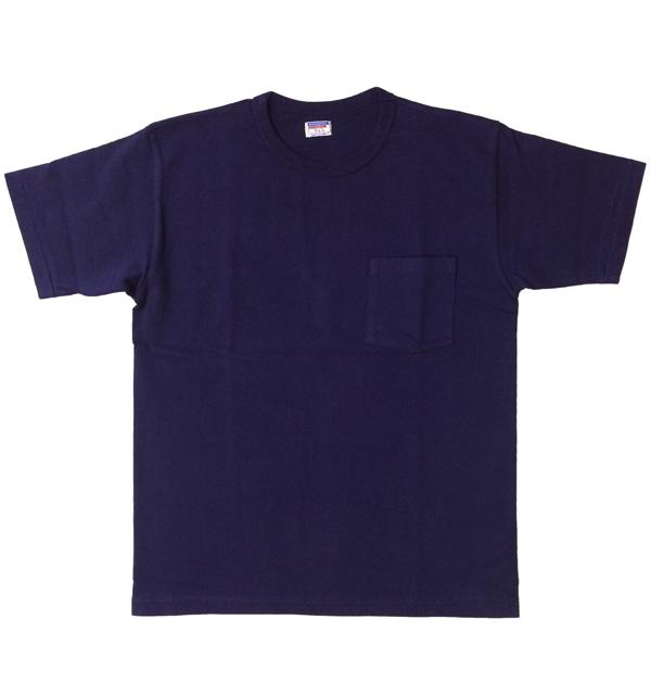 ダブルワークス 【DUBBLE WORKS】 8番手 度詰め丸胴天竺 ポケットTシャツ HEAVY WEIGHT POCKET TEE Lot.37002 NAVY
