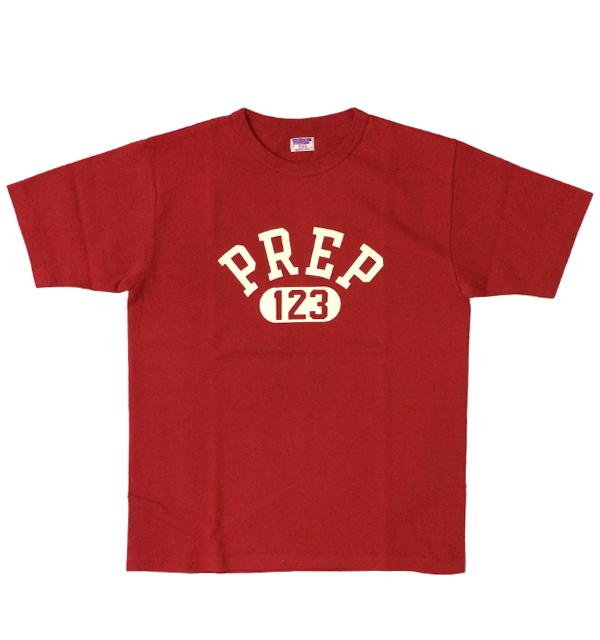 ダブルワークス 【DUBBLE WORKS】 8番手 度詰め丸胴天竺 プリントTシャツ HEAVY WEIGHT PREP 123 TEE RED
