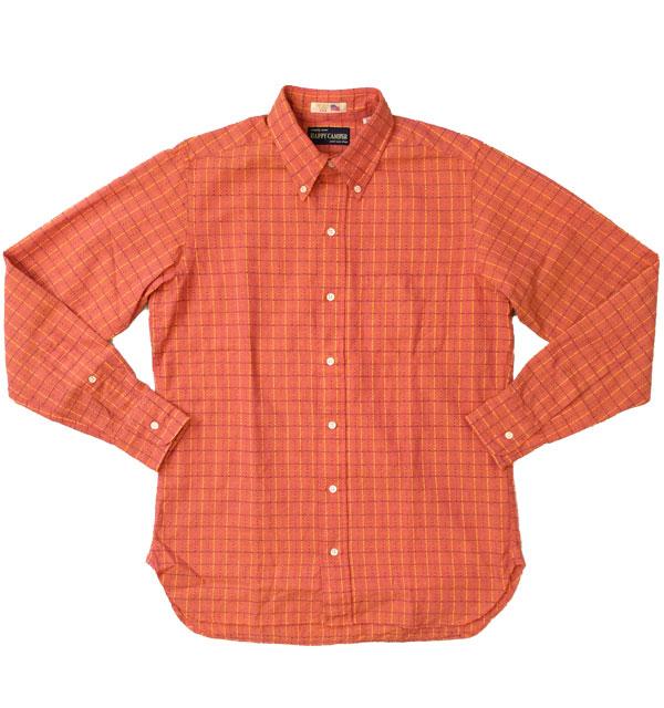 ハッピーキャンパー 【HAPPY CAMPER】 USAインポート生地 刺し子 ボタンダウンシャツ RED