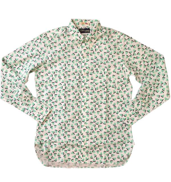 ハッピーキャンパー 【HAPPY CAMPER】 USAインポート生地 ボタンダウンシャツ ヨット柄 GREEN
