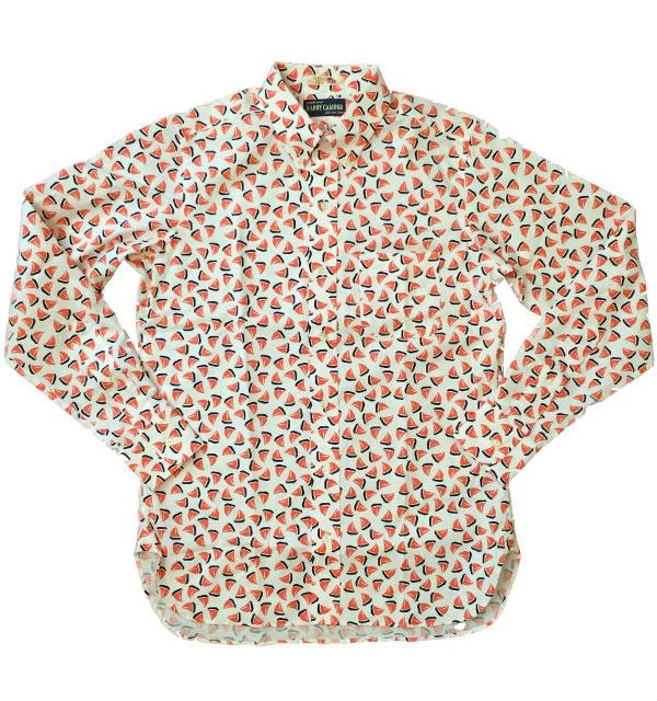 ハッピーキャンパー 【HAPPY CAMPER】 USAインポート生地 ボタンダウンシャツ ヨット柄 RED
