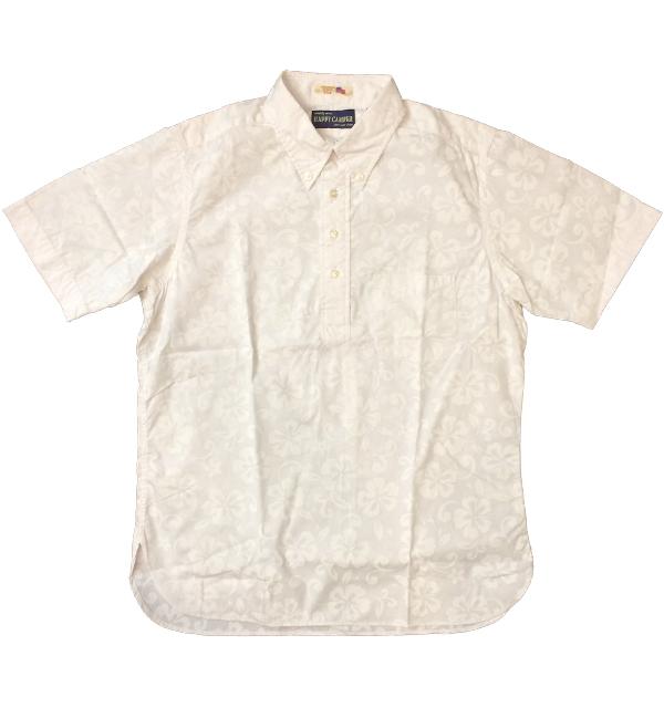 ハッピーキャンパー 【HAPPY CAMPER】 USAインポート生地 ボタンダウンプルオーバー半袖シャツ ALOHA WHITE/WHITE