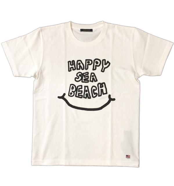 モデムデザイン 【MODEM DESIGN】 アメリカンコットンTEE HAPPY SEA BEACH  WHITE