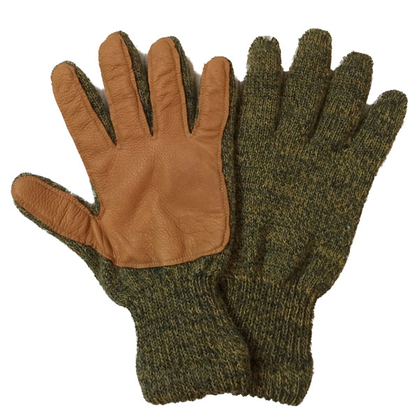ニューベリーニッティング 【NEWBERRY KNITTING】 Newteck lined ragg wool Glove with Deerskin Palm LIGHTGREEN MENS ONE SIZE
