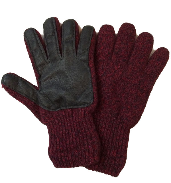 ニューベリーニッティング 【NEWBERRY KNITTING】 Newteck lined ragg wool Glove with Deerskin Palm RED MENS ONE SIZE