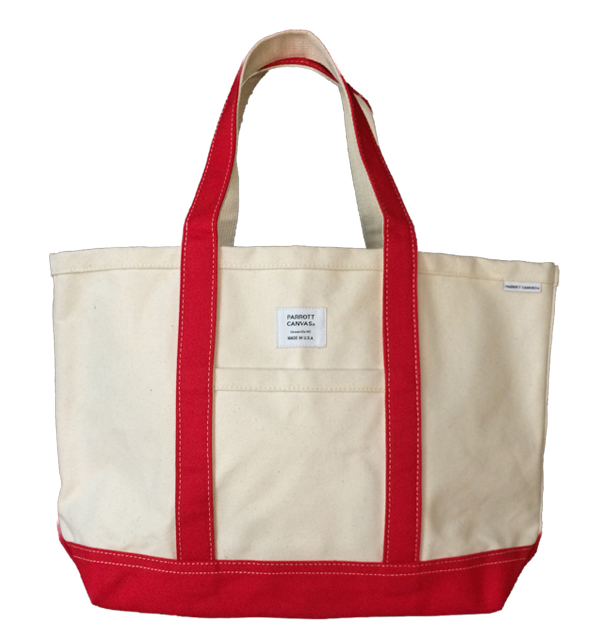 パロットキャンバス 【PARROT CANVAS】 MEDIUM TOTE DUCK NATURAL/RED