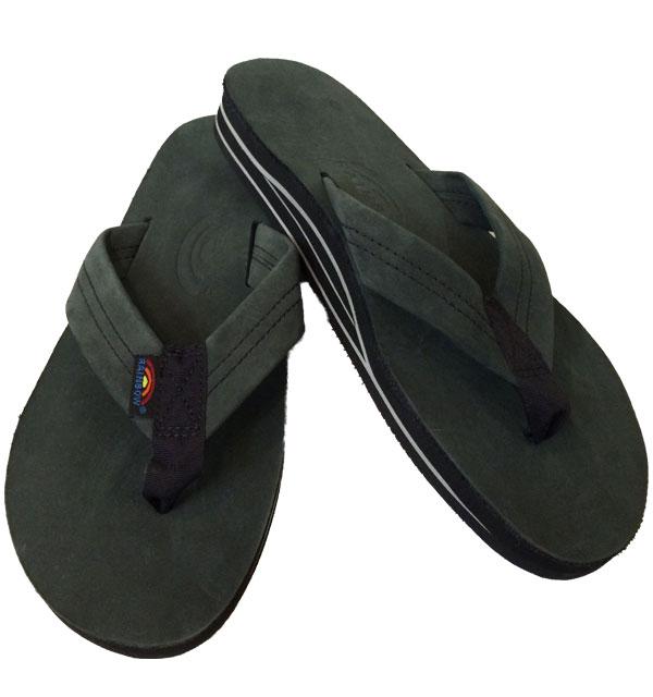 レインボーサンダル 【RAINBOW SANDALS】  Double Layer Premier Leather with Arch Support ダブルレイヤー プレミアムレザー BLACK