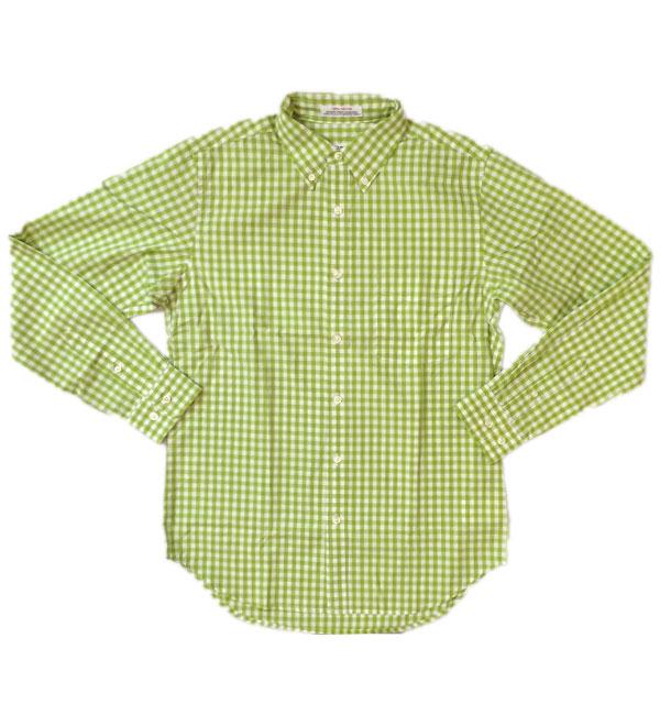 セロ 【SERO】 ギンガムチェックブロード ボタンダウンシャツ MADE IN USA LIME