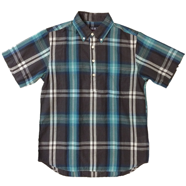 セロ 【SERO】 半袖ボタンダウン プルオーバー マドラスチェックシャツ S/S PULLOVER SHIRT CHARCOAL