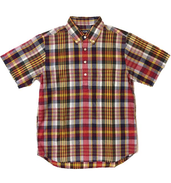 セロ 【SERO】 半袖ボタンダウン プルオーバー マドラスチェックシャツ S/S PULLOVER SHIRT NAVY