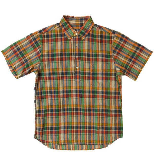 セロ 【SERO】 半袖ボタンダウン プルオーバー マドラスチェックシャツ S/S PULLOVER SHIRT ORENGE