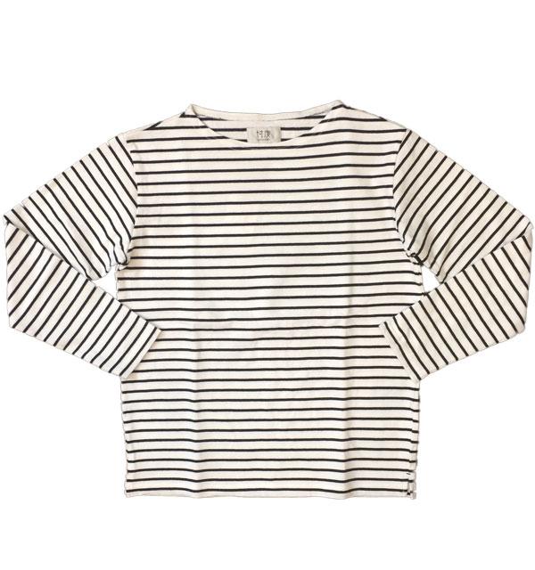 ソンタク 【SONTAKU】 BORDER VASQUE SHIRT バスクシャツ ボーダー 9分袖 WHITE/NAVY