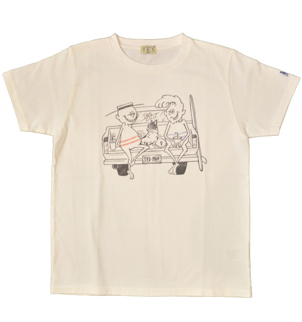 ザエンドレスサマー 【THE ENDLESS SUMMER】 プリントTシャツ TES SURF HOLIC TEE CAR WHITE