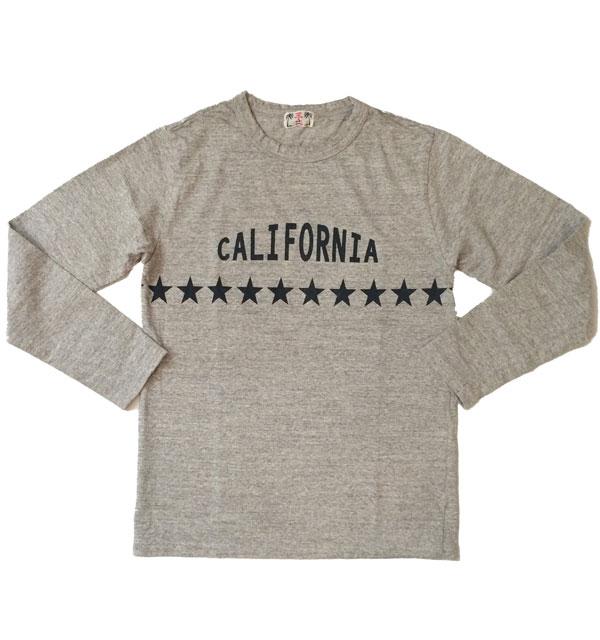 """ユーエムアイコホラ 【U.M.I KOHOLA】 リサイクルコットン L/S TEE """"CALIFORNIA&STAR""""  GRAY"""