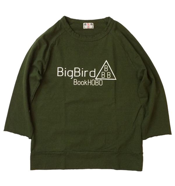 """ユーエムアイコホラ 【U.M.I KOHOLA】 リサイクルコットン 3/4 SLEEVE TEE 7分袖 """"BIG BIRD"""" GREEN"""