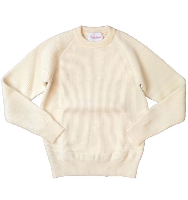 ヴァンソンエミレイユ 【Vincent et Mireille】 CREWNECK SWEATER クルーネックセーター WHITE