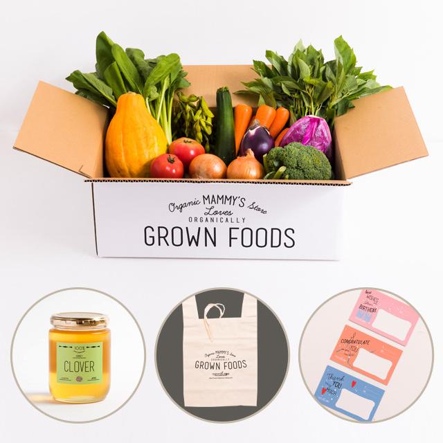 有機栽培野菜が11種類入った、オーガニックボックスと国産100%幸せを呼ぶクローバーのハチミツ(300g)のセット
