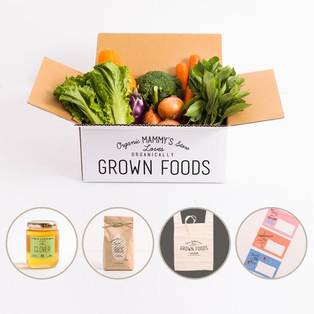 有機栽培野菜が7種類入った、オーガニックボックスとと無農薬・有機栽培米&国産100%幸せを呼ぶクローバーのハチミツ(300g)のセット