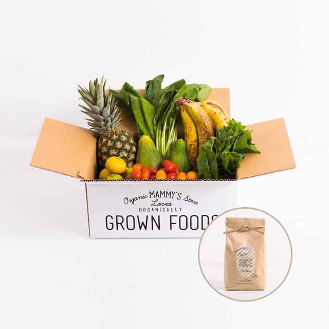 オーガニックBOXグリーンスムージー + 無農薬有機栽培米2kg 定期セット