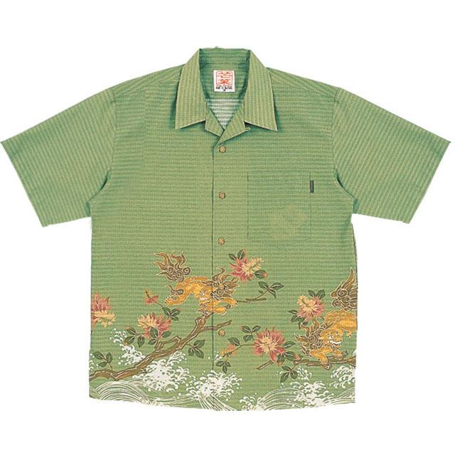 Men'sシーサーデイゴ オープンシャツ グリーン