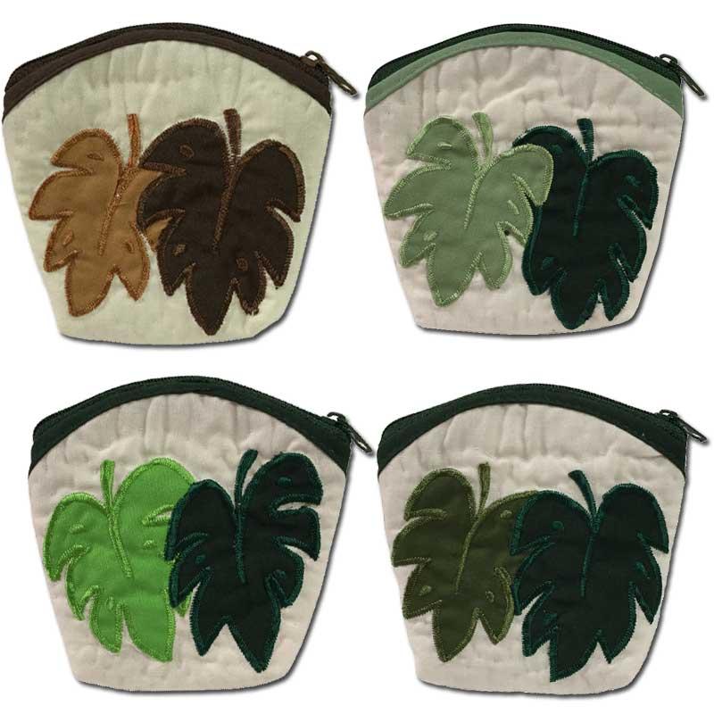 ハワイアンキルト Hawaiian Quilt  モンステラコインケース